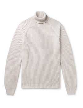 Ribbed Cotton Rollneck Sweater by Hugo Boss