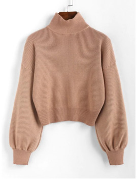 Hot Zaful High Neck Drop Shoulder Plain Sweater   Light Brown S by Zaful