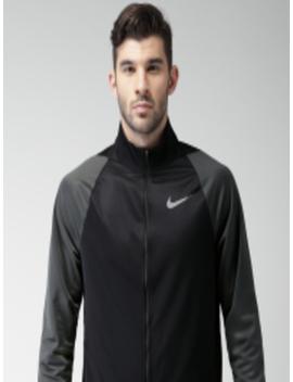 Men Black As M Nk Jkt Epic Knit Solid Sporty Jacket by Nike