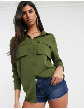 Pretty Little Thing Oversized Shirt With Pockets In Khaki by Pretty Little Thing