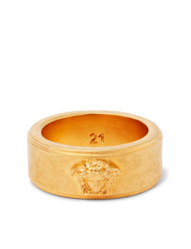 Logo Detailed Gold Tone And Enamel Ring by Versace