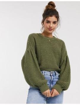 Asos Design – Flauschiger Pullover Mit Rundhalsausschnitt Und Voluminösen Ärmeln by Asos
