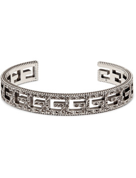 Logo Embossed Sterling Silver Cuff by Gucci
