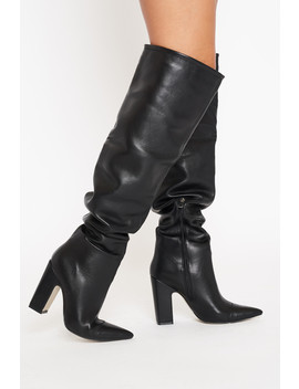 Nyla Slouch Otk Boots In Black Vegan Leather by Luxe To Kill