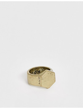 Icon Brand Hexagon Signet Ring In Gold by Icon Brand