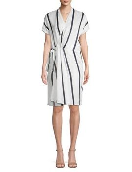 Leonce Striped Wrap Style Dress by Equipment