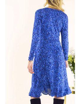 Blue Leopard Print Wrap Dress by Sosandar