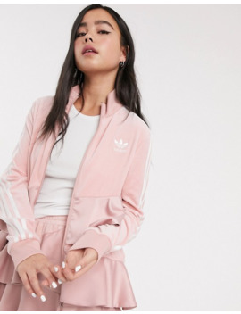 Adidas Originals X J Koo Velour Trefoil Ruffle Track Top In Pink by Adidas