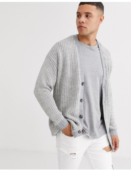 Asos Design Oversized Ribbed Cardigan With Tuck Stitch In Grey by Asos Design