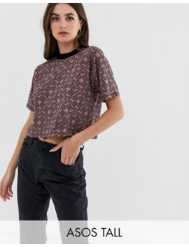 Asos Design Tall Grown On Neck T Shirt In Monogram by Asos Design
