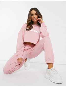 Missguided Playboy Co Ord Cropped Sweatshirt In Pink by Missguided's