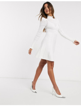 River Island Knitted Mini Dress With Frill Detail In Cream by River Island