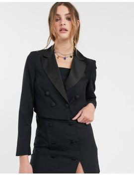 Topshop Crop Tux Jacket In Black by Topshop