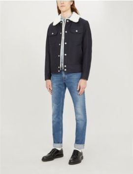 Shearling Boxy Fit Cotton Twill Jacket by Sandro