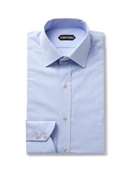 Light Blue Slim Fit Cotton Poplin Shirt by Tom Ford