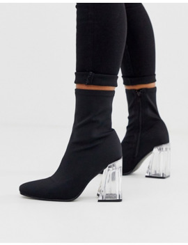 Truffle Collection Sock Boots With Clear Heel by Asos