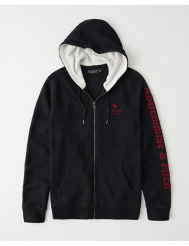 Applique Logo Full Zip Hoodie by Abercrombie & Fitch