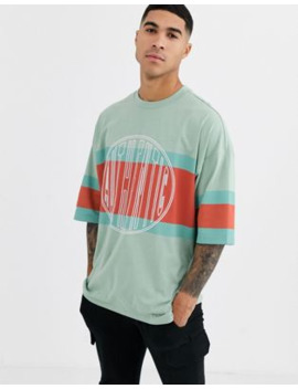 Asos Design Organic Cotton Oversized Longline Colour Block T Shirt With Authentic Embroidery by Asos Design