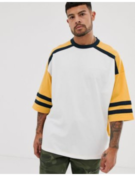 Asos Design Organic Oversized T Shirt With Half Sleeve And Contrast Sleeves by Asos Design