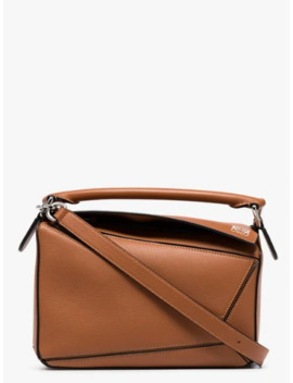Brown Puzzle Small Leather Shoulder Bag by Loewe