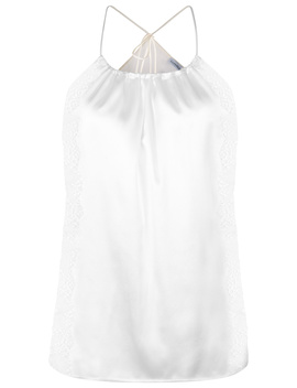 Off White Silk Halterneck Pyjama Top With Leavers Lace Trim by Exotique