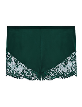 Green Silk Pyjama Shorts With Leavers Lace Trim by Exotique