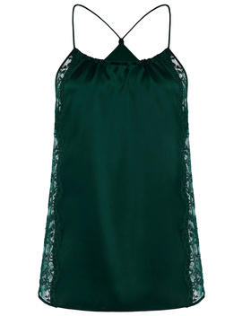Green Silk Halterneck Camisole With Leavers Lace Trim by Exotique