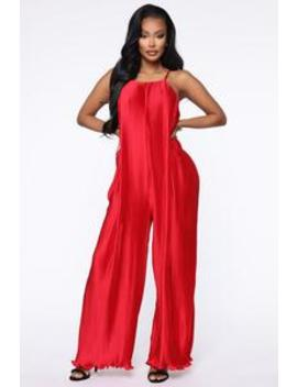 Just A Pleat Second Jumpsuit   Red by Fashion Nova