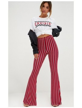Red Jersey Vertical Stripe Trousers by Prettylittlething