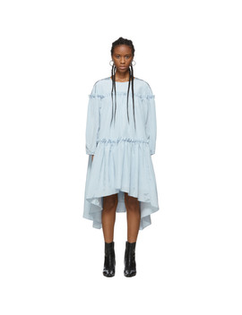 Robe Froncée Bleue Volume Exclusive à Ssense by Edit