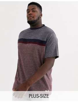 Duke King Size T Shirt With Cut And Sew Chest Panel In Burgundy by Duke