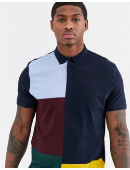 Asos Design Organic Polo Shirt With Patchwork Colour Block In Navy by Asos Design
