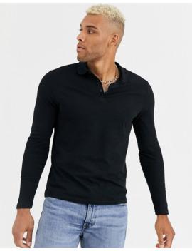 Asos Design Organic Long Sleeve Jersey Polo In Black by Asos Design