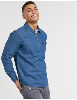 Burton Menswear Half Zip Denim Shirt by Burton Menswear London