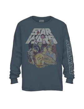 Men's Star Wars Classic Collage Long Sleeve Graphic T Shirt   Slate by Star Wars