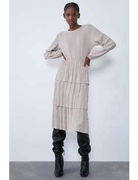 Plisowana Sukienka Z Falbankami by Zara