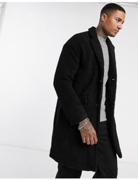 Pull&Bear Borg Long Coat In Black by Pull&Bear