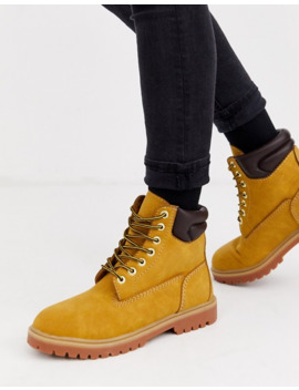 Pull&Bear Lace Up Boots In Tan by Pull&Bear