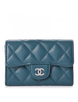 Chanel Caviar Quilted Flap Card Holder Dark Turquoise by Chanel