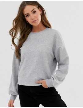 Pull&Bear Basic Sweat Top In Gray by Pull&Bear