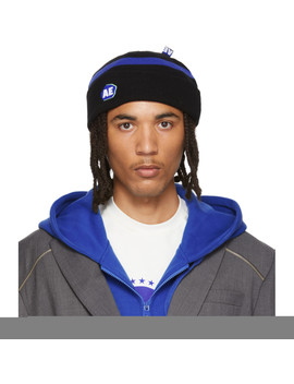 Black Stone Logo Regular Fit Beanie by Ader Error