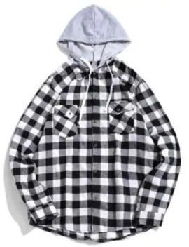 Sale Plaid Pocket Curved Hem Contrast Color Spliced Hooded Shirt   Black Xs by Zaful