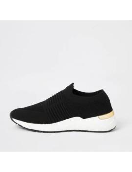 Zwarte Gebreide Sneakers Met Sleehak by River Island