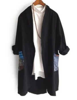Popular Sale Chinese Style Glen Check Printed Trench Coat   Black M by Zaful