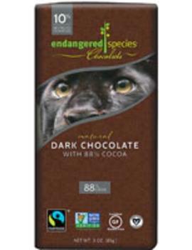 Endangered Species Dark Chocolate 88 Percents Cocoa Bar Vegan Gluten Free    3 Oz by Endangered Species