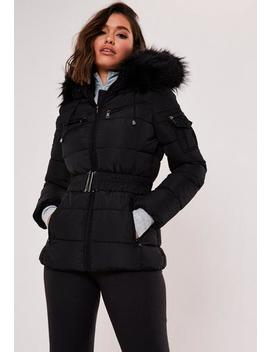 Premium Black Belted Faux Fur Hooded Puffer Jacket by Missguided