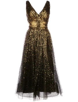Sequin Embroidered Flared Dress by Marchesa Notte