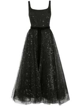 Star Glitter Tulle Tea Length Dress by Marchesa Notte