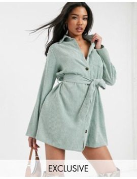 Boohoo Exclusive Belted Cord Shirt Dress With Button Through In Sage by Boohoo