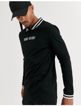Asos Design Long Sleeve Heavyweight Polo With Tipped Color And Dark Future Logo by Asos Design